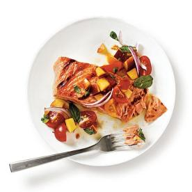 Grilled King Salmon with Tomato-Peach Salsa