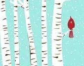 Winter Cardinal & Birch Trees - Modern Cardinal Art  Print - silkscreen - strawberryluna