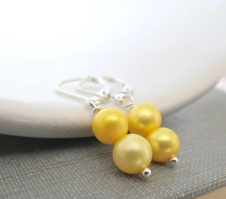 Silver Earrings, Pearl Earrings, Yellow Pearls, Pearl Jewelry, Sterling Silver, Lemon Yellow, Sunshine Yellow, Dangle Earrings, - fiveforty