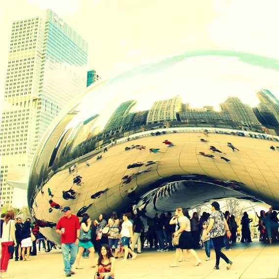 Fine Art Photography Chicago 8x8 Bean Cloud Gate architecture cyanotype style skyline reflection green black white