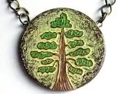 Back to School SALE 20% OFF- Green and Brown Woodland Tree Necklace - The Test of Time Necklace - Made to Order - blockpartypress
