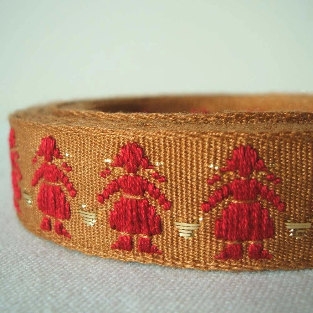 folklore vintage trim in scarlet, gold and biscuit brown