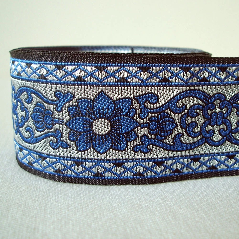 "cobalt and metallic silver floral trim 1.5"" wide 3 yards"