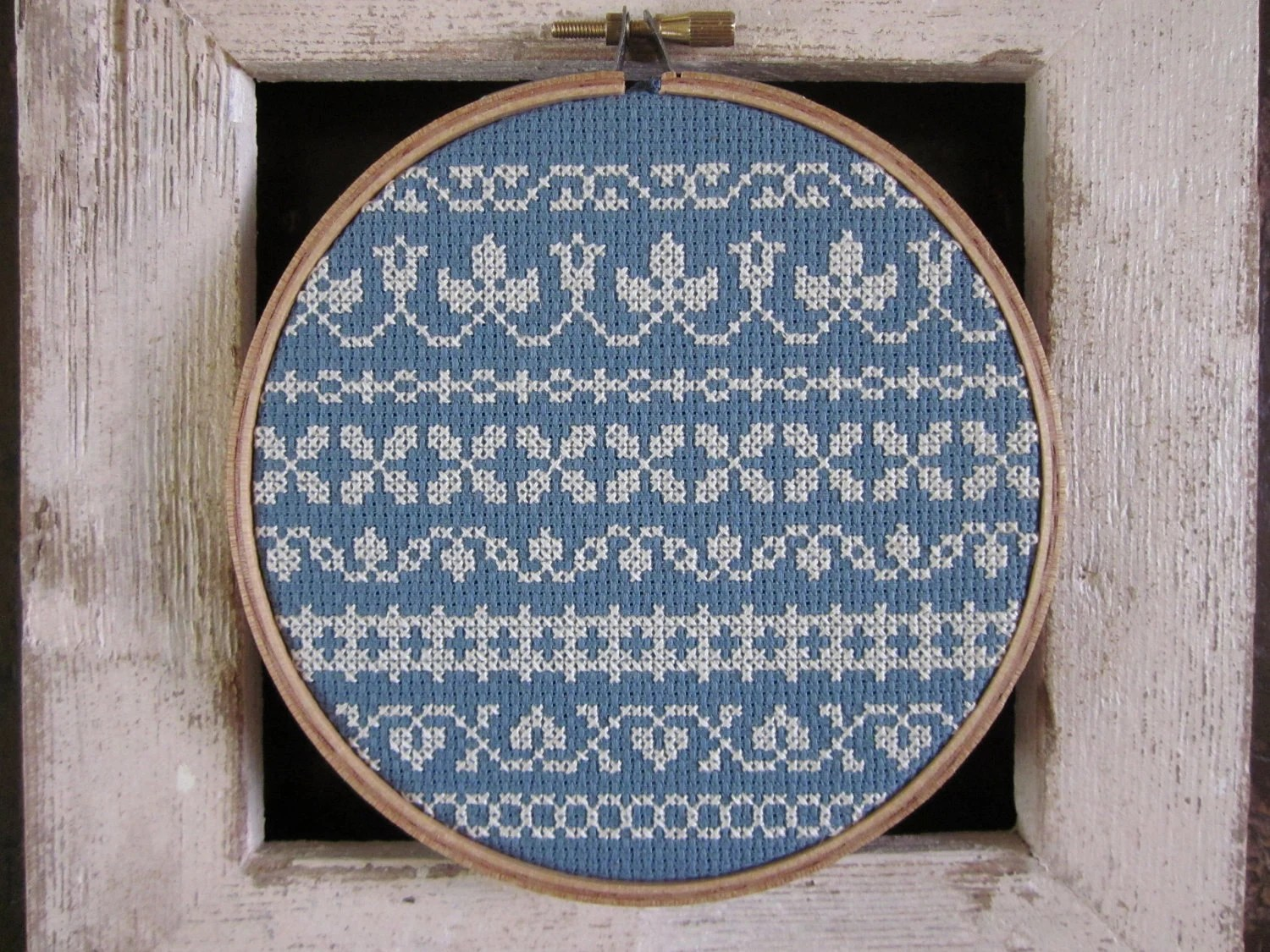 borderlines --- diy cross stitch kit border sampler, materials and pattern, to be framed in included 5.25 inch wooden embroidery hoop - ChezSucreChez