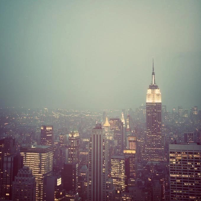 25 % OFF Manhattan - NYC Skyline at Twilight, Mad Men, New York Photograph, Empire State Building, Father's Day, Dad, For Him