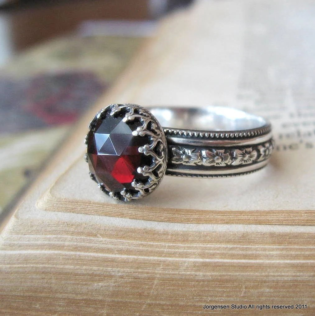 Gothic Ring Medieval Rose Cut Garnet Ring In Sterling Silver