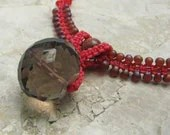 Smokey Quartz Crystal Red Micro Macrame Necklace - prox