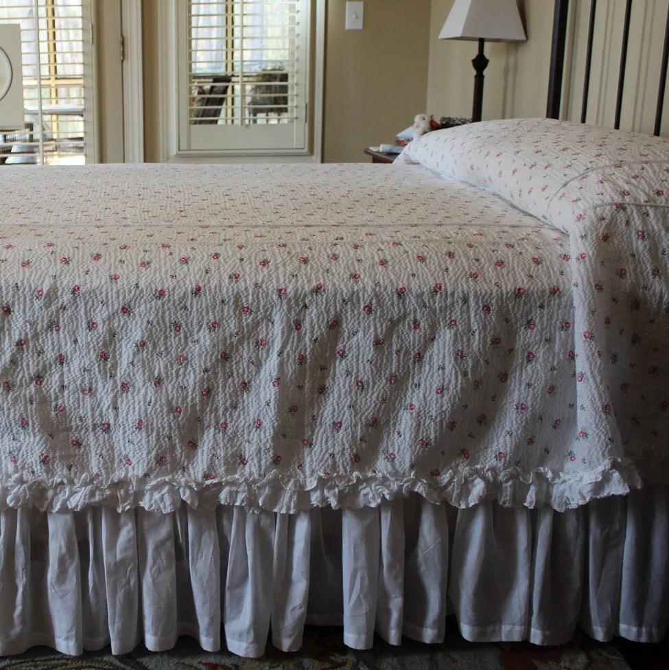 Vintage Cotton Plisse Bedspread Tiny Pink Roses On White