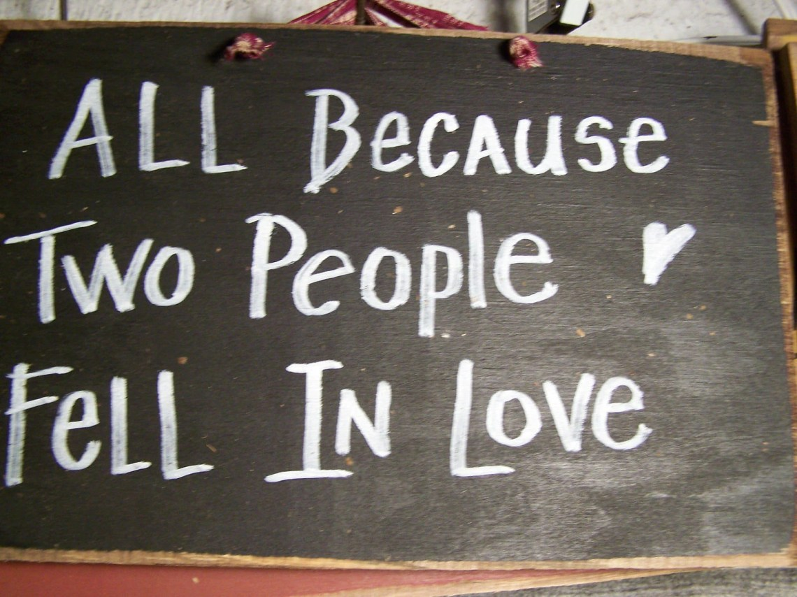 Download All Because two people fell in love sign primitive wood