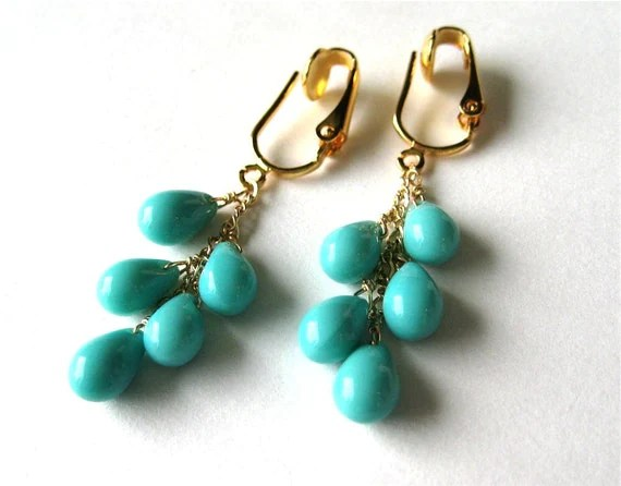 Turquoise Clip On Earrings, Glass Teardrop Cascade, Gold Clip Earrings, Handmade, Georgia