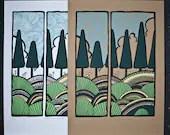retro pine trees silkscreen poster print - exit343design