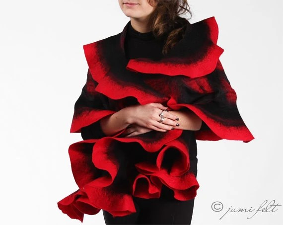 Felt Scarf - Wavy ruffled Shawl - Carmen passion - Handmade wool and silk - JumiFelt