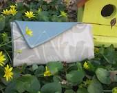 Light Blue Shimmery Floral Wallet - SewKind