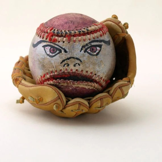 Hand Painted Baseball Funny Face - Archie