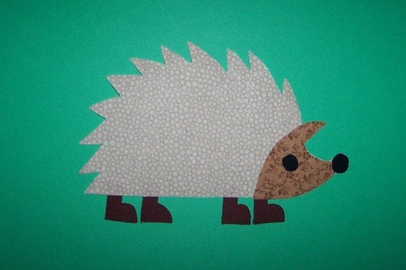 Fabric Applique TEMPLATE ONLY Hedgehog Animal