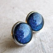Midnight Blue Earrings - Starry Nights Post Earrings - Silver Post Earrings - AshleySpatula