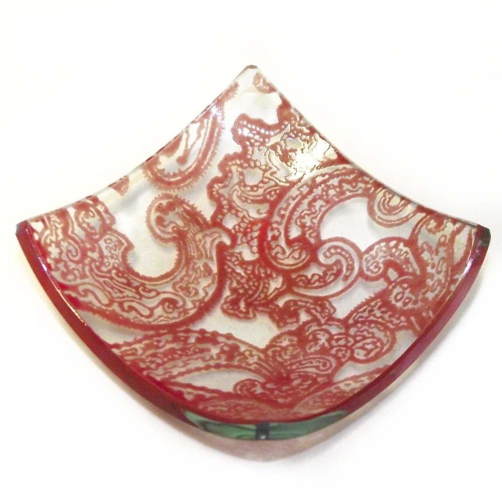 Red Paisley - Printed Glass Trinket Dish