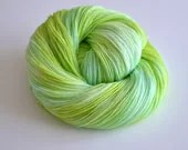 Hand Dyed Fingering Sock Yarn - Superwash Merino Wool / Nylon 463 Yards - Yemaya - Turquoise Blue Lime Green - ToilandTrouble