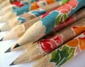 japanese paper-wrapped pencils - set of 10 - vintage wallpaper - maoiliosa