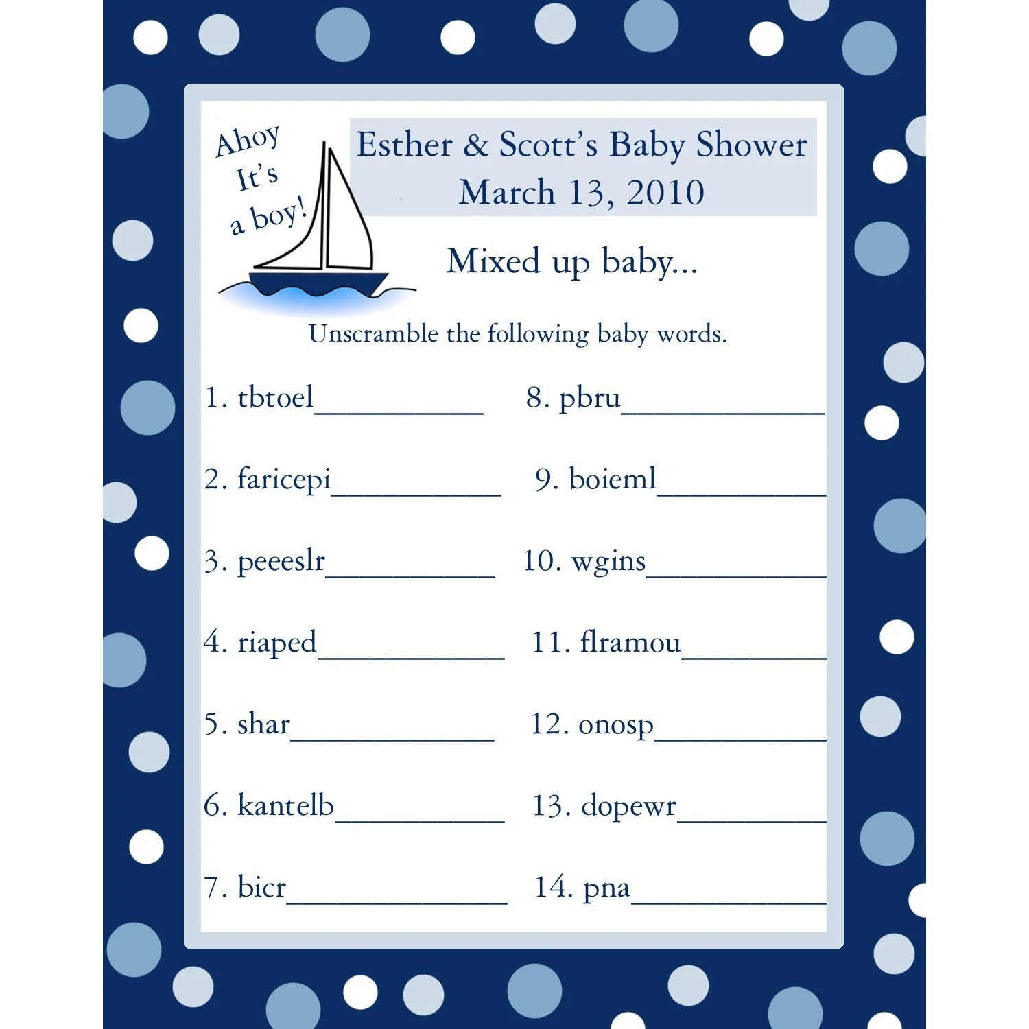 24 Personalized Word Scramble Baby Shower Game Cards Ahoy