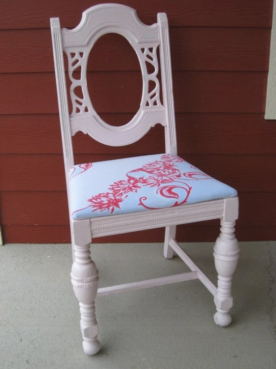 Shabby Chic Chair Painted Pink - swoonantiques