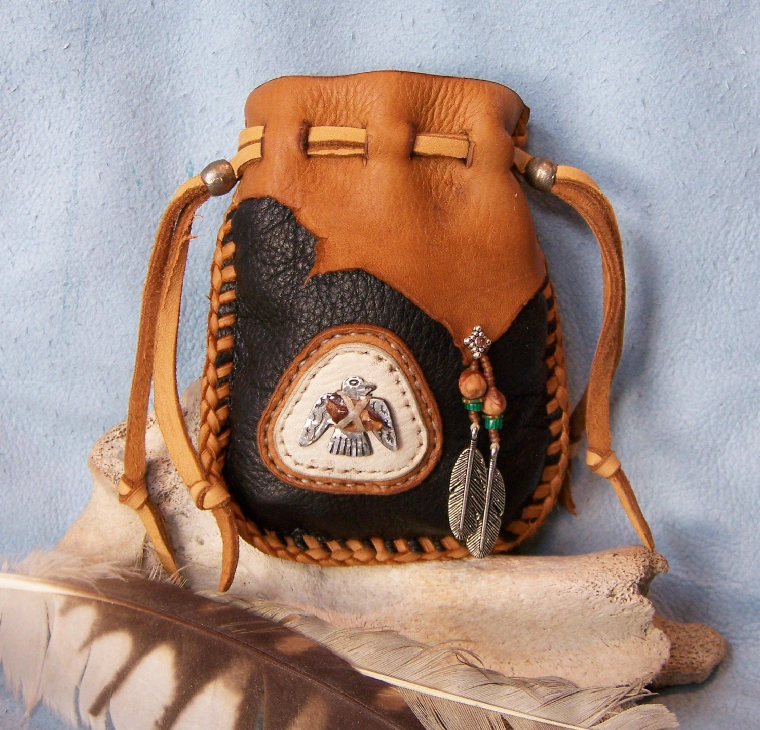 Thunderbird Native American Style Medicine Bag With Fossil