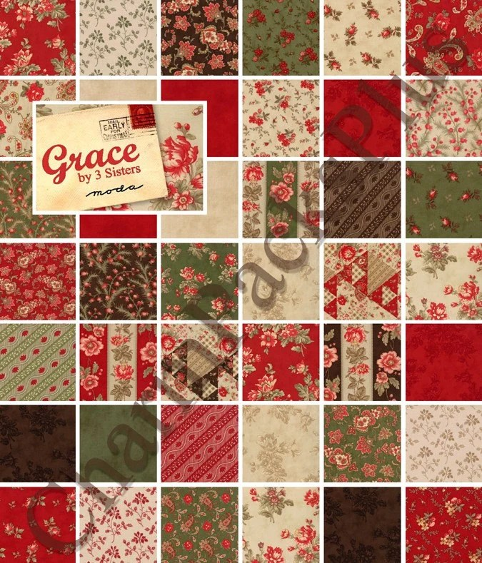 New GRACE Moda Fabric Charm Pack Quilt Squares 3 Sisters