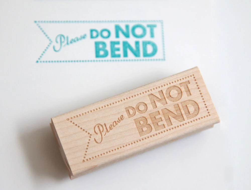 Do Not Bend Rubber Stamp (Wood Mounted) Original Modern Typographic Design with optional wooden handle - HuntersHideaway
