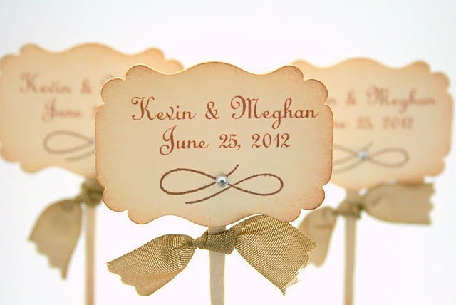 Wedding Cupcake Toppers / Food Picks - Name and Wedding Date - Set of 10 You Choose Ribbon Color - seasonaldelights