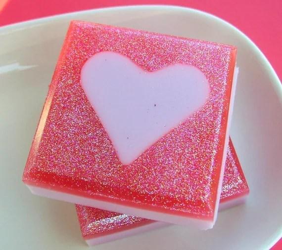 Soap - Love Soap - Hearts - Pink Sugar - Pink Glitter - Hearts - Natural Soap - Say I Love You in Soap - SunbasilgardenSoap