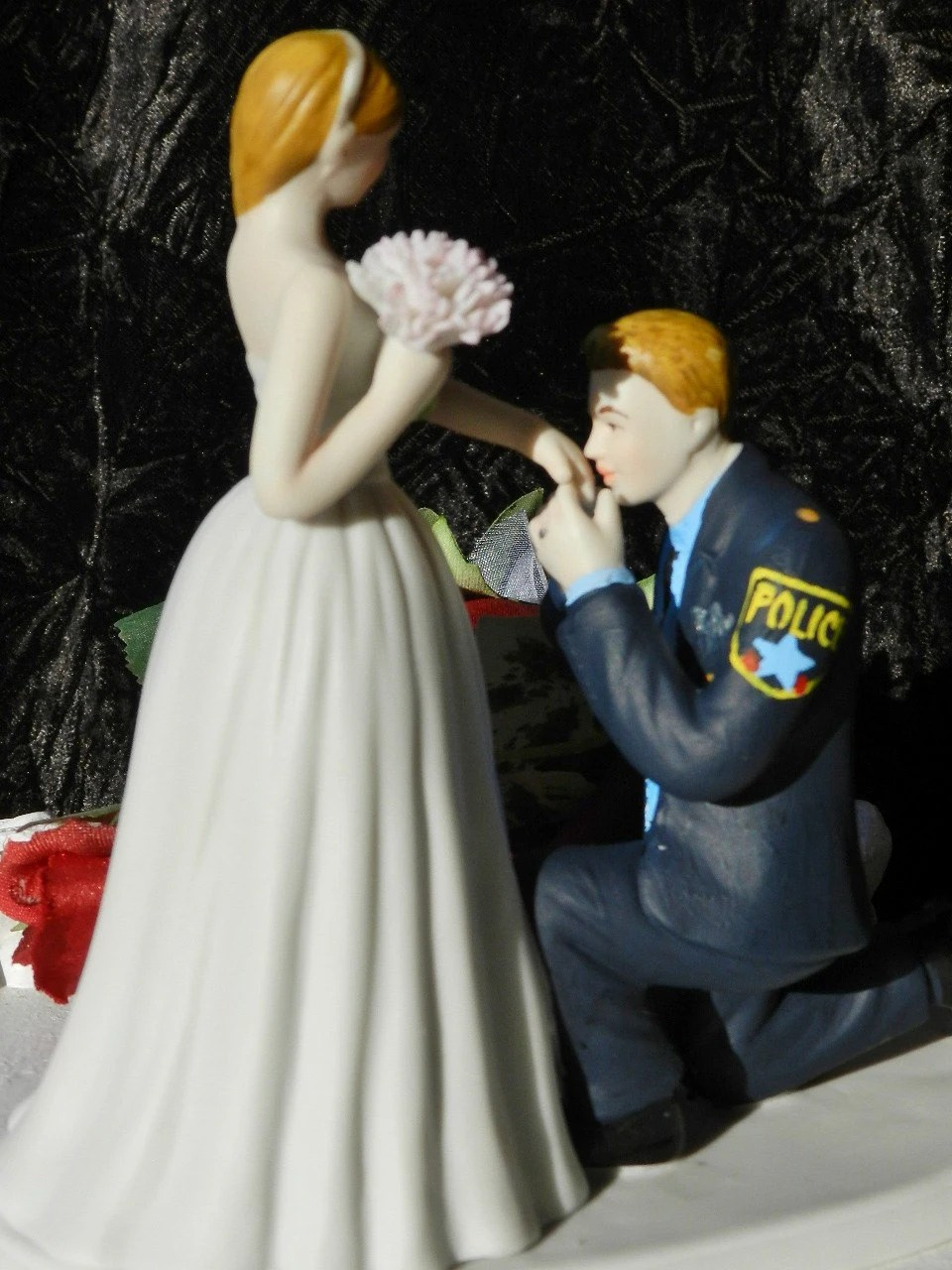 Police Officer Cop Groom Kiss Bride Hand Wedding Cake Topper
