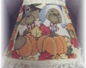 New Fall Seasonal Night Light with Cute PILGRIM Bear Couple and Orange Pumpkins Leaves Acorns Lace - goodtidingscreations