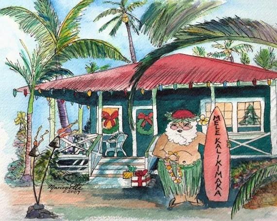 Christmas Mele Kalikimaka 8x10 Print With Hawaiian Santa From