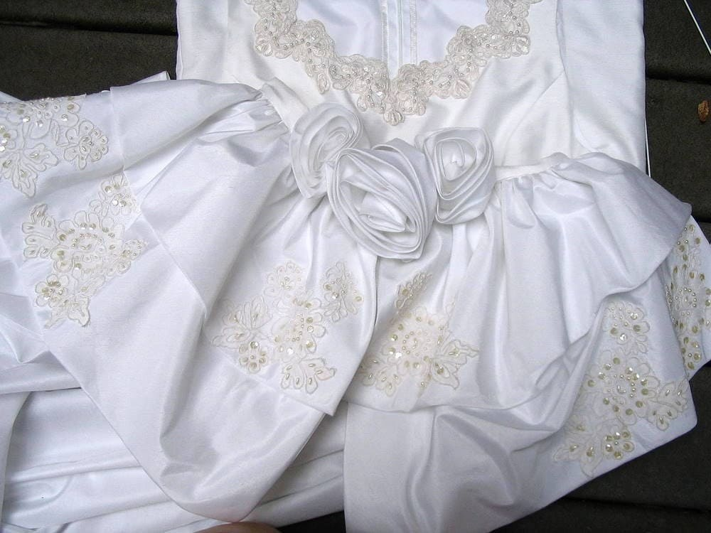 Eco Wedding Dress With Detachable Train Upcycled Refashioned