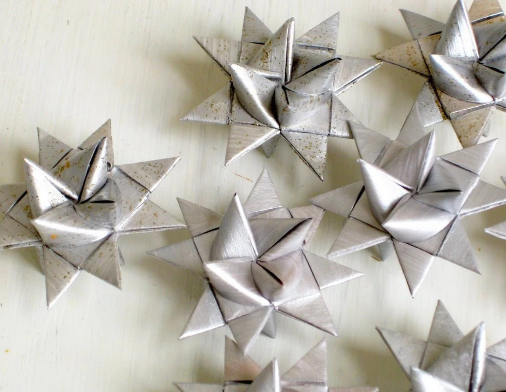 3d Star Ornaments Folded Paper Silver Moravian By Sewdanish