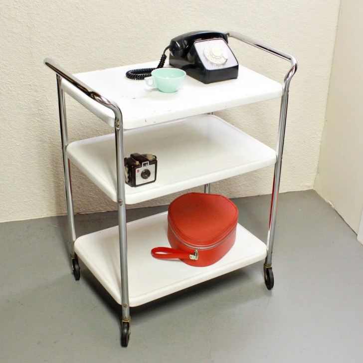 Vintage Metal Cart Serving Kitchen Cosco