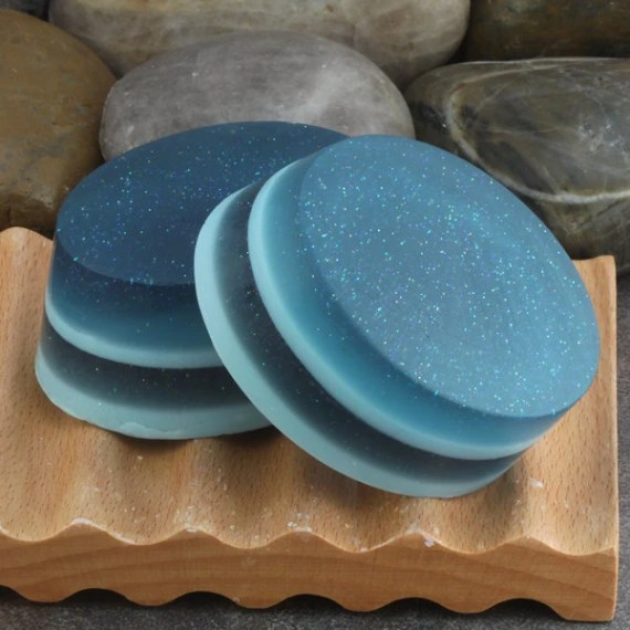 Layered Glycerin Soap Bar with Embedded Sparkling Glitter in a Crisp and Clean Unisex Fragrance - AlaiynaBSoaps