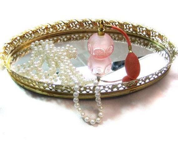 Vintage Ornate Oval Gold Tone Vanity Mirror Tray