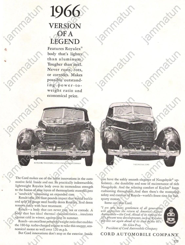 Ferrari Print Ad Cord Royalex Advertising Triumph Spitfire