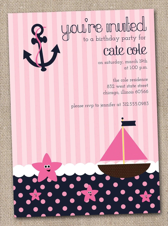 Nautical Girls Birthday Party Invitations Printable Digital