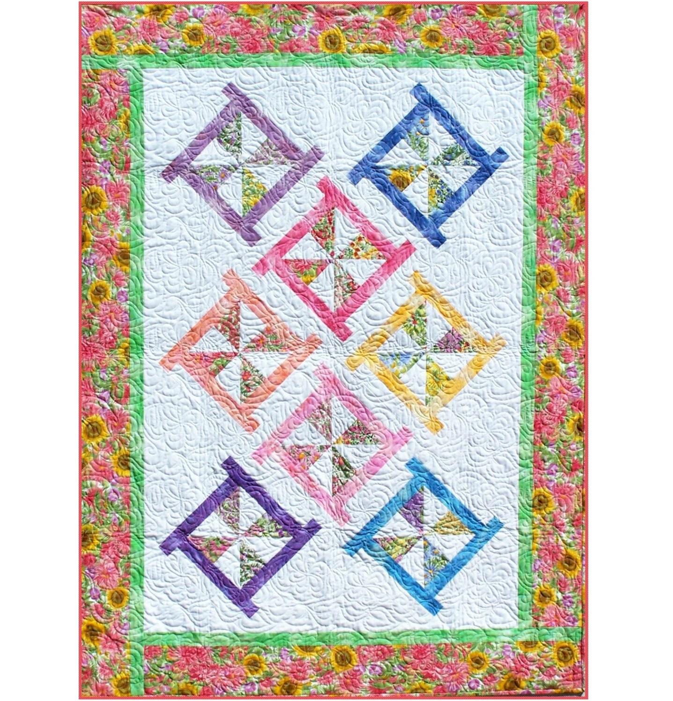 Pinwheel Posies Quilt Pattern B J Q 115 Printable