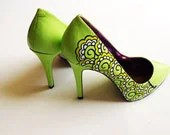 Hand painted heels - Lemon and Lime Twist  green court shoes- UK 6/ US 8.5/ EU 39  - Kezbirdie - kezbirdie