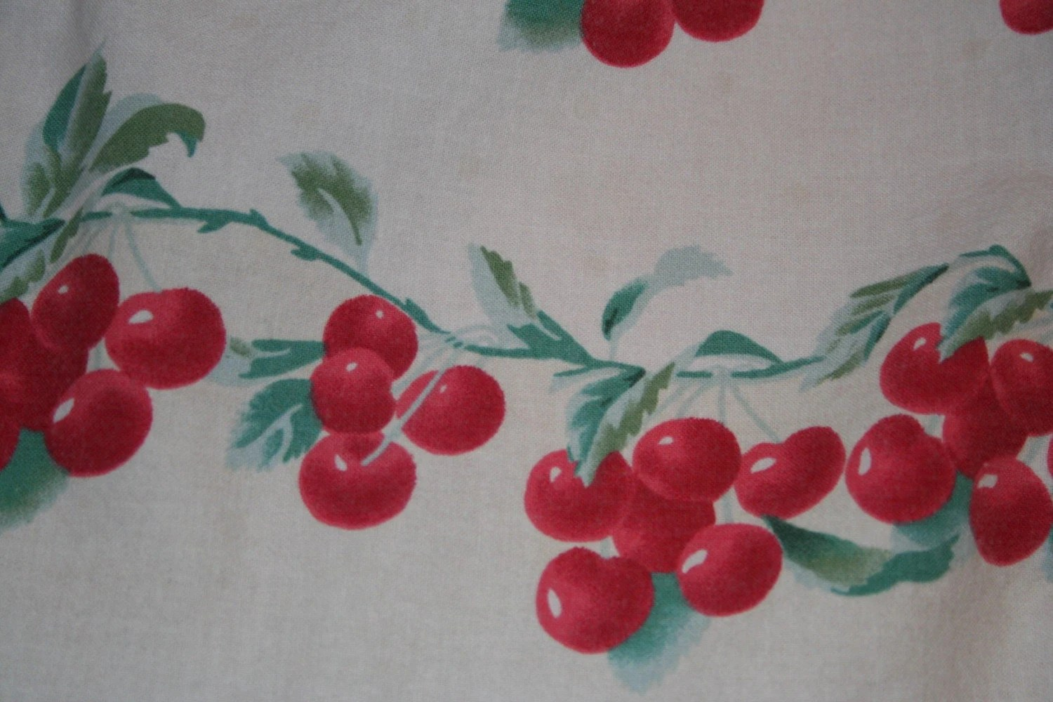 Vintage 50s Style Cherry Print Kitchen Cafe Curtains Rab