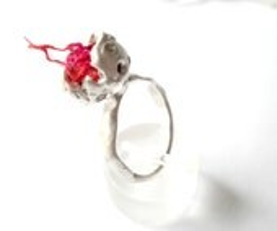 Sterling Silver Ring Hand Modeled Pod Ring Orange Pink Silk Unique Natural Inspired Holes - CyKLu