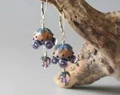 5-Eyed Peach & Violet Alien Pod Earrings Handmade Lampwork Glass - karenelmquist