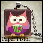 Pink Coffee Drinking  Owl  Scrabble Tile Pendant Free Ball Chain Ready To Ship