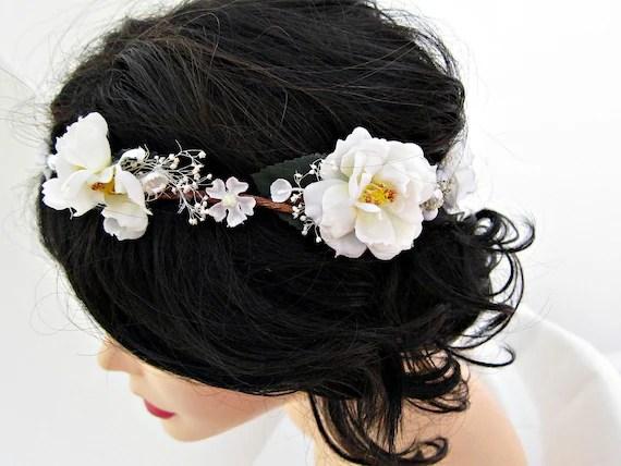 Wedding Head Wreath White Flower Headband Vintage Flower