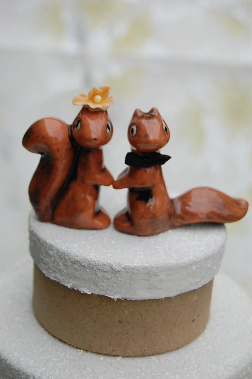 Squirrel Bride And Groom Ceramic Wedding Cake Topper