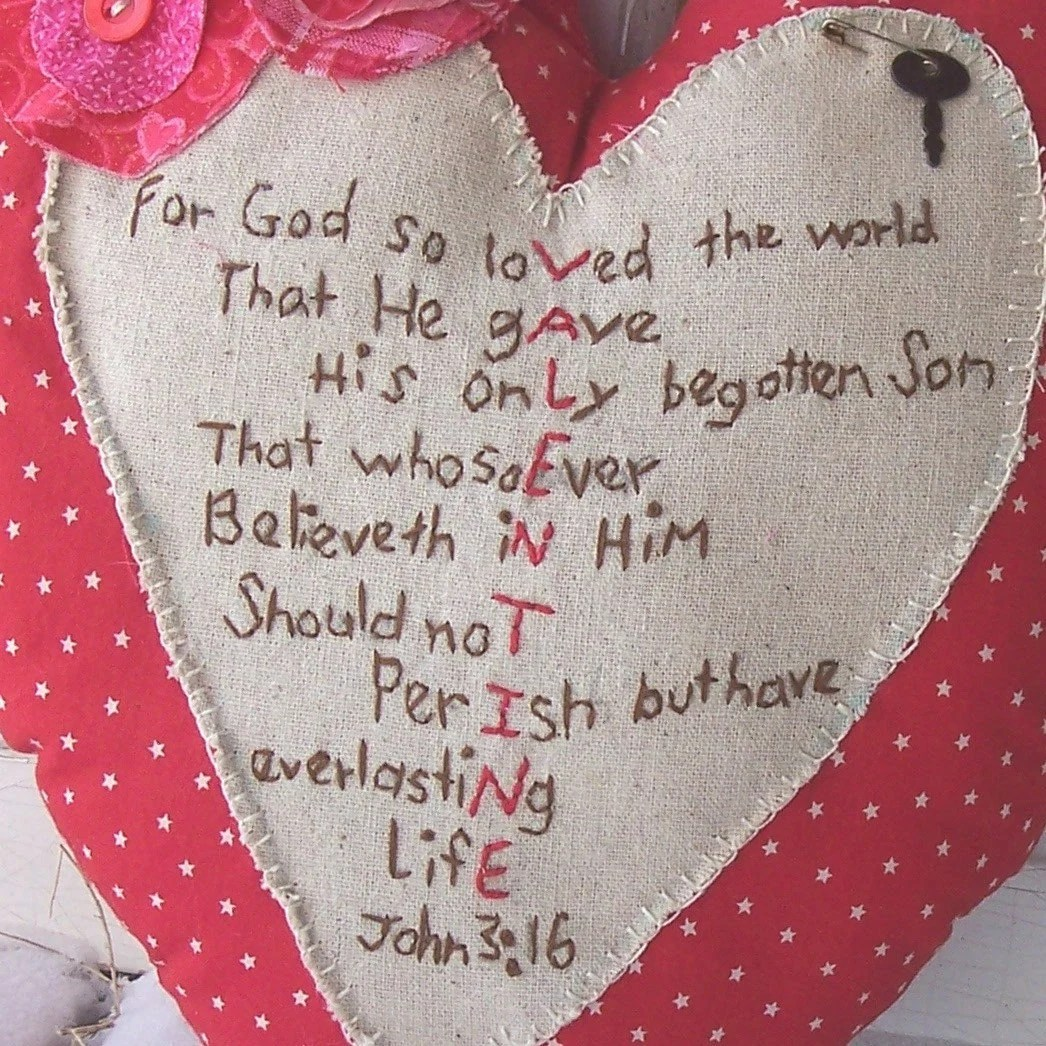 Heart Valentine Pillow Primitive John 3 16 Embroidered Red