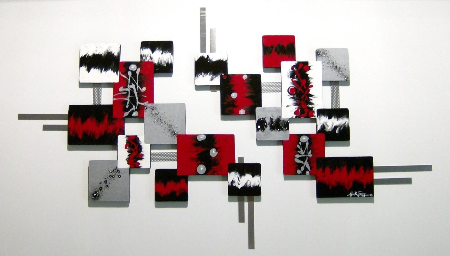 Contemporary Modern Red Black Silver Abstract By